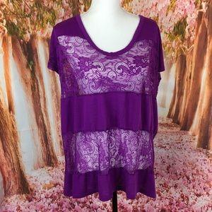 Torrid purple lace top size 2